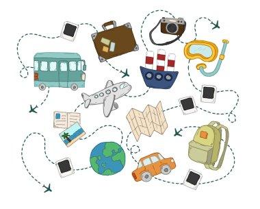 World travel concept backgrounds set.