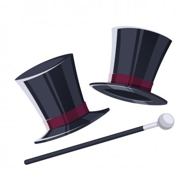 Top hat with a cane