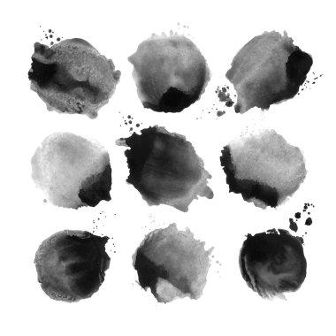 Black watercolor  circles
