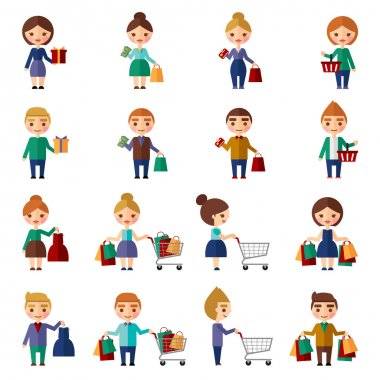 People in the store icons