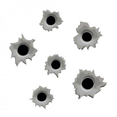 Bullet holes on white