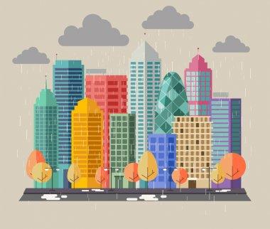 Buildings on a rainy day