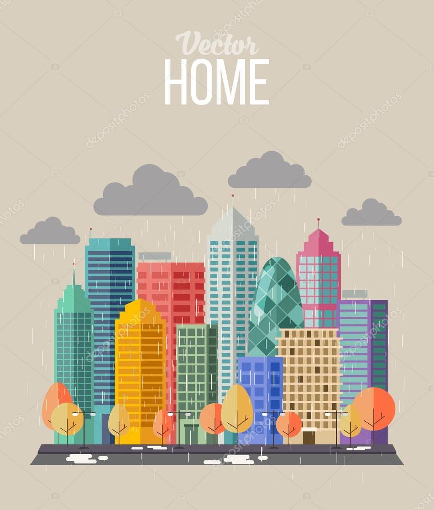 Autumn city flat style