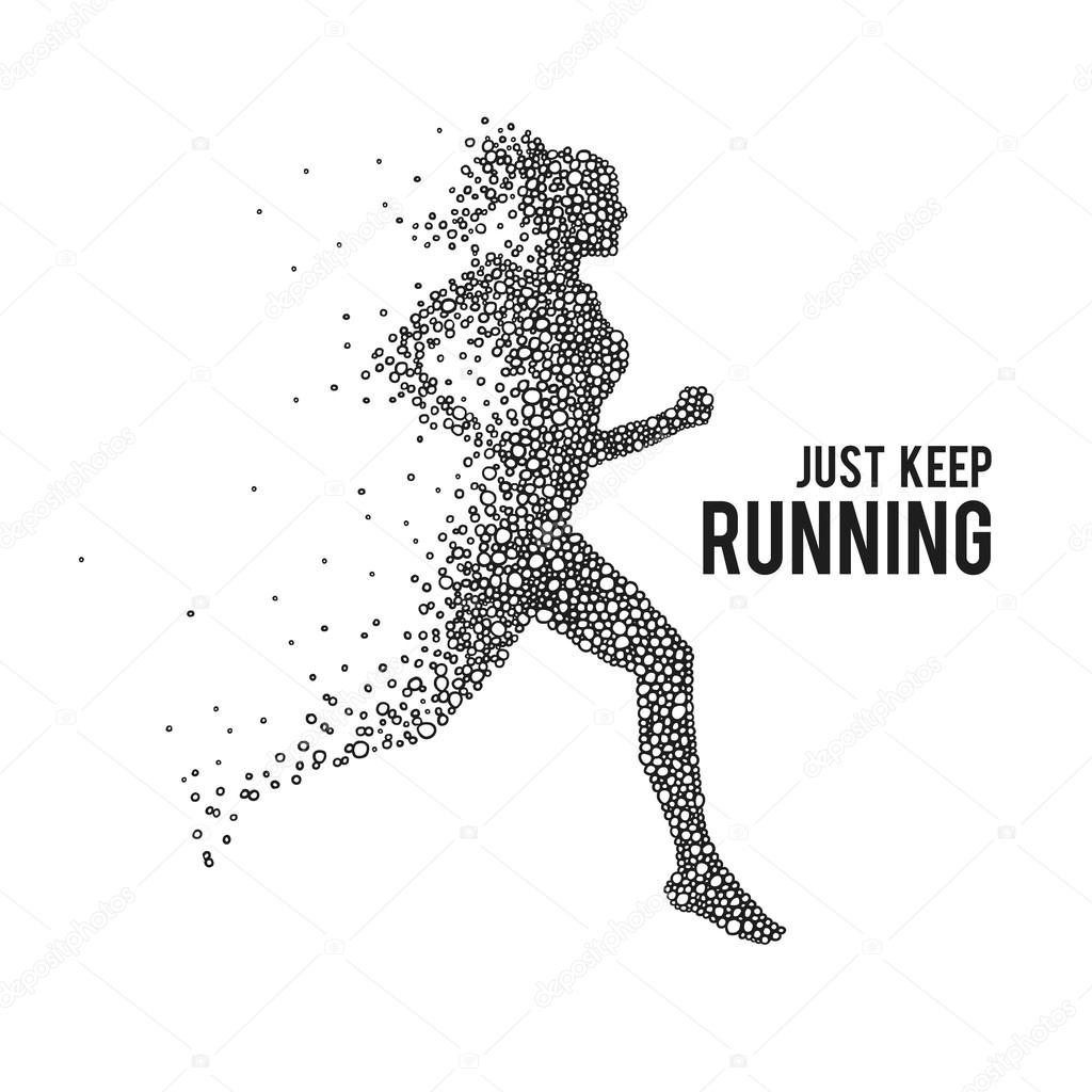 Running woman on white