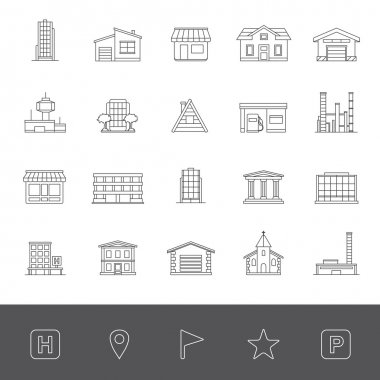 Line icons: Buildings