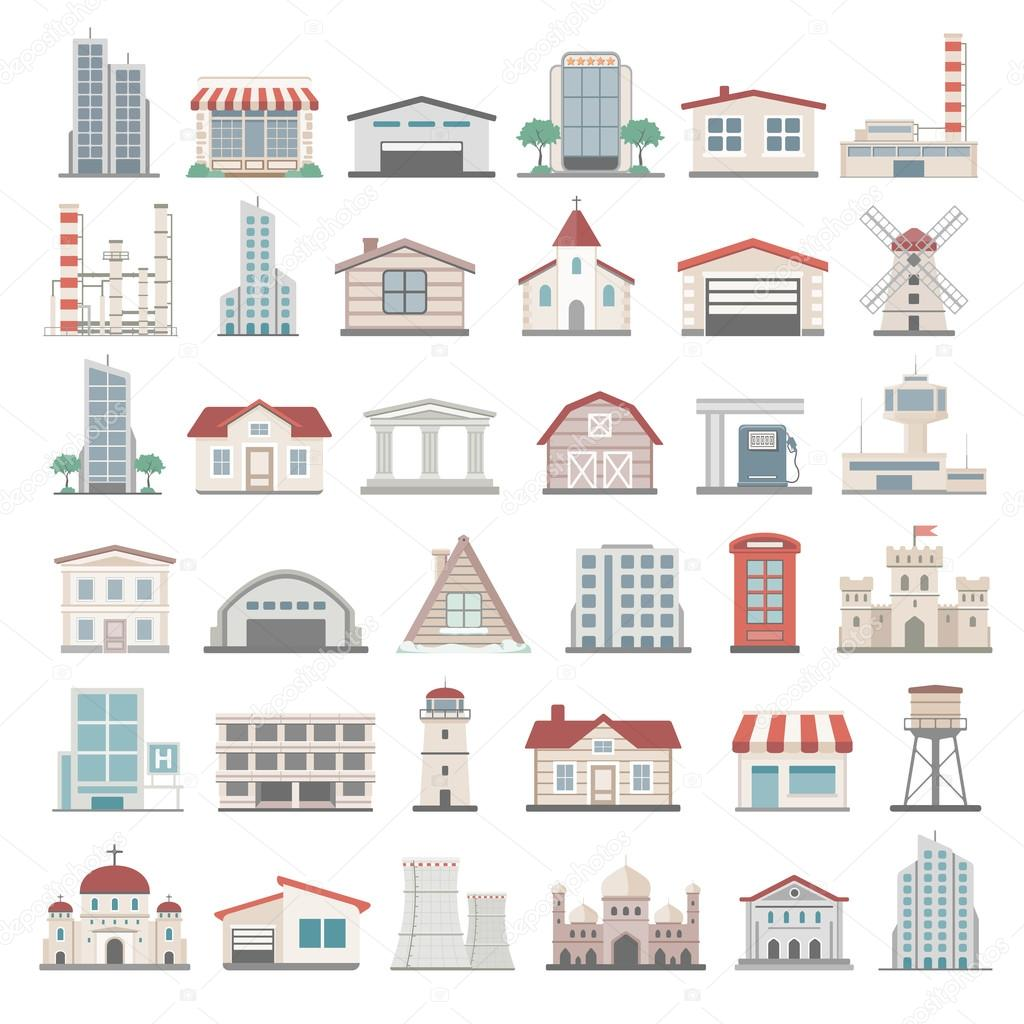Flat Icons - Buildings