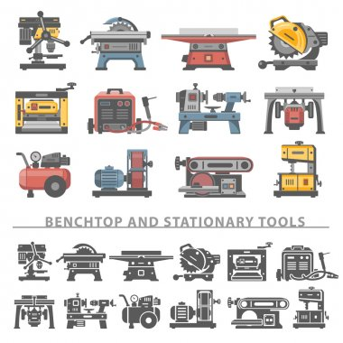 Flat Icons -Benchtop and Stationary Tools
