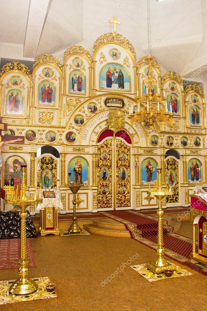 Orthodoxe Kirche Kerzen Kreuz Taufe Taufbecken