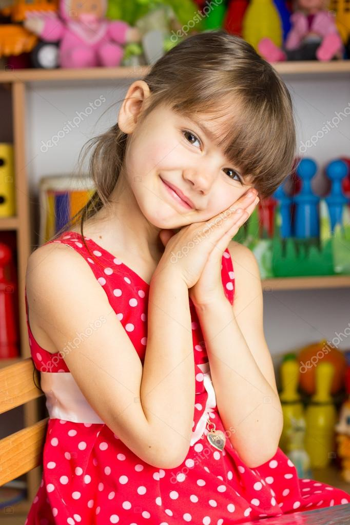 6 Years Old Girl Blond Hair, Red Dress With White Polka -9042