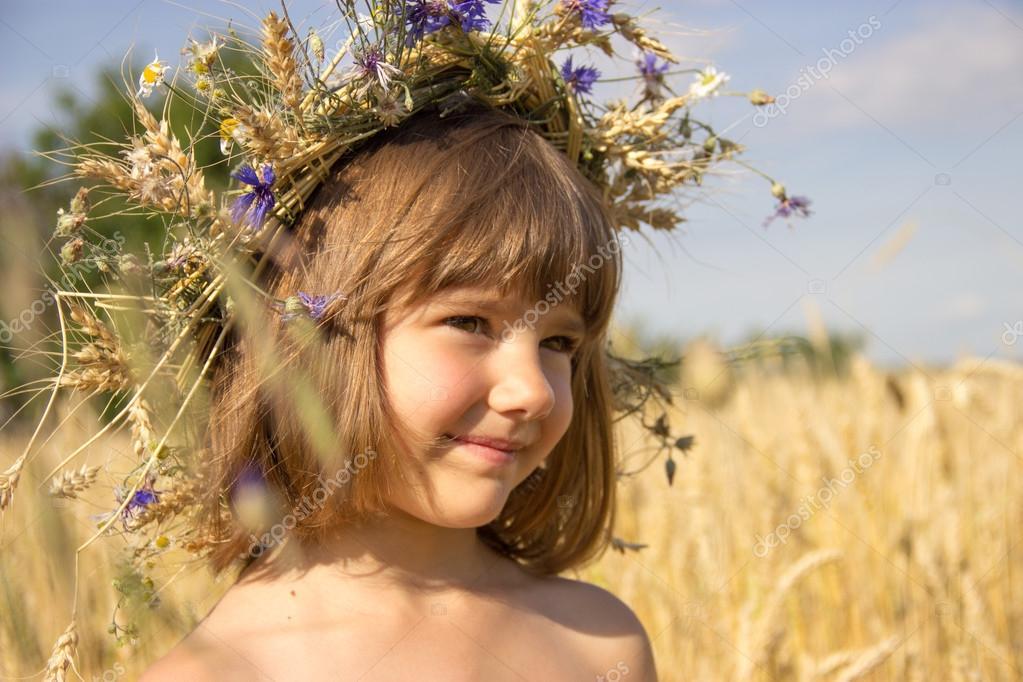 wheat field, cornflowers, ears, blue sky, summer, girl 4-6 years