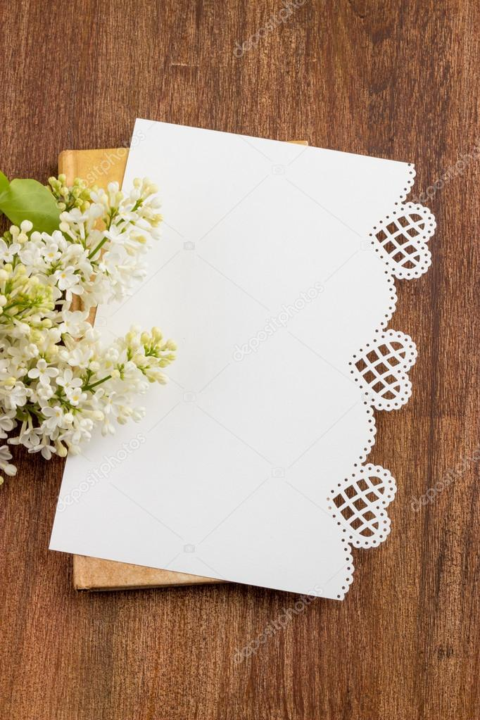 white lilac, lilac purple, white sheet of paper with hearts punc