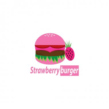 Strawberry Hamburger Logo Food Illustration Color Fruit Design Vector icon