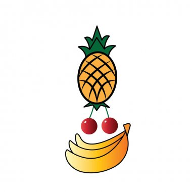 Pineapple, cherry, banana.icon color vector design icon