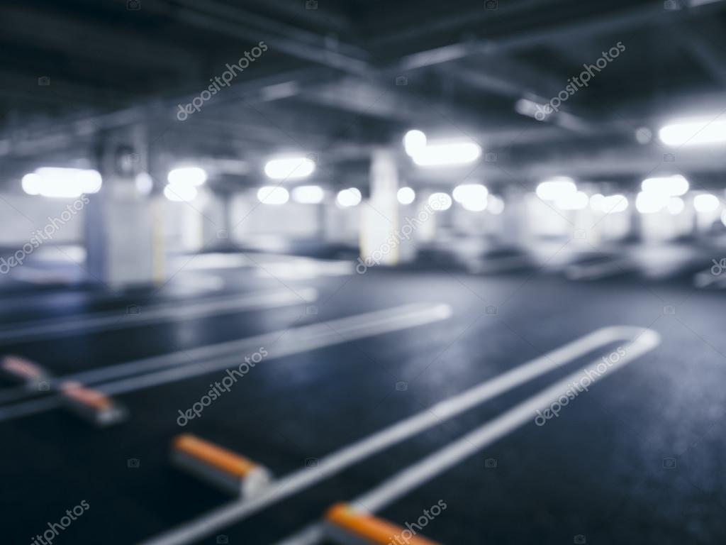 wazig lege auto parkeren indoor kelder gebouw met neon verlichting foto van viteethumb