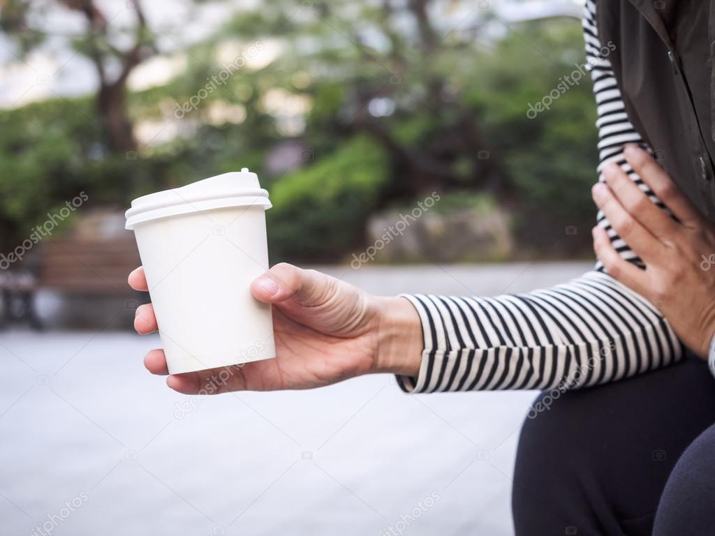 Woman Hand Holding Paper Cup Coffee Park Outdoor Stock Photo
