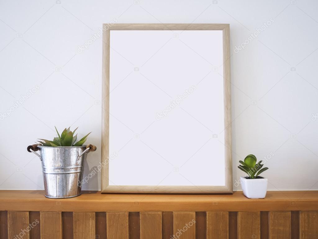 Simulacros de cartel marco de madera con decoración plantas Hipster ...