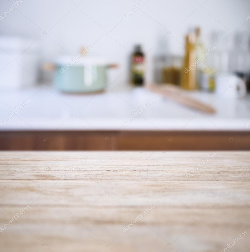 Kitchen Table Top Background table top with blur kitchen pantry with kitchenware background
