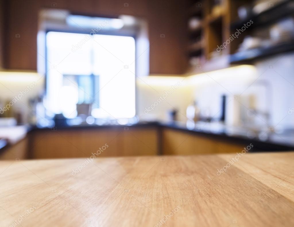 Kitchen Table Top Background table top with blurred home kitchen background — stock photo