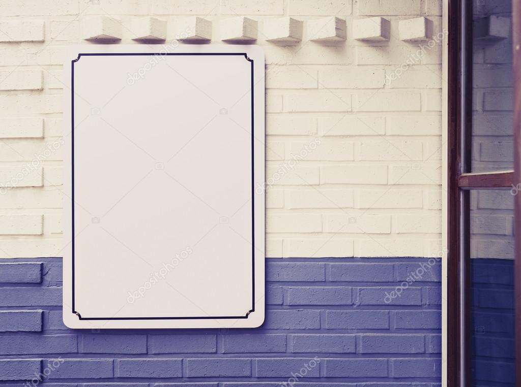 Plantilla en blanco de cartel menú señalización en pared tienda ...