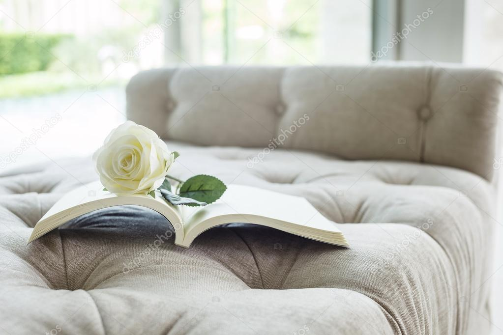 Book On Sofa With White Rose Close Up U2014 Photo By Viteethumb
