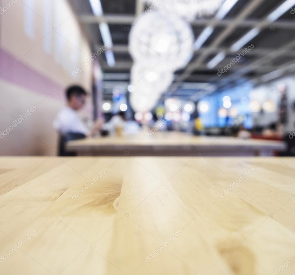 Top van houten tafel café winkel interieur Blurred achtergrond ...