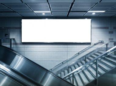 Mock up Horizontal poster Advertising light box in subway station