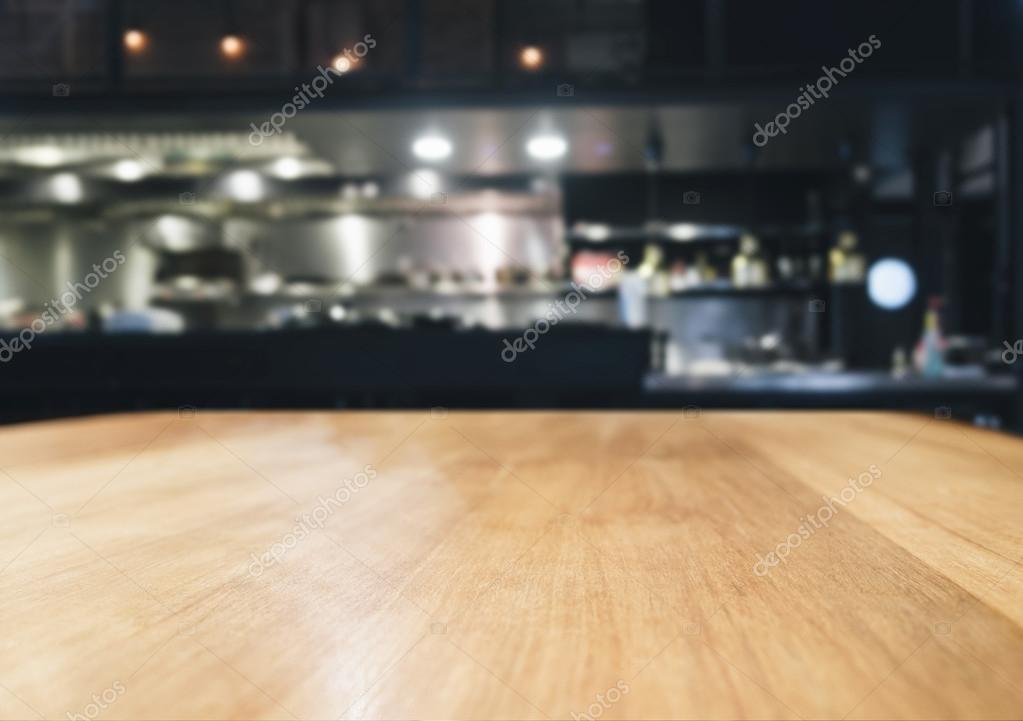 Kitchen Table Top Background table top counter bar with blurred kitchen background — stock