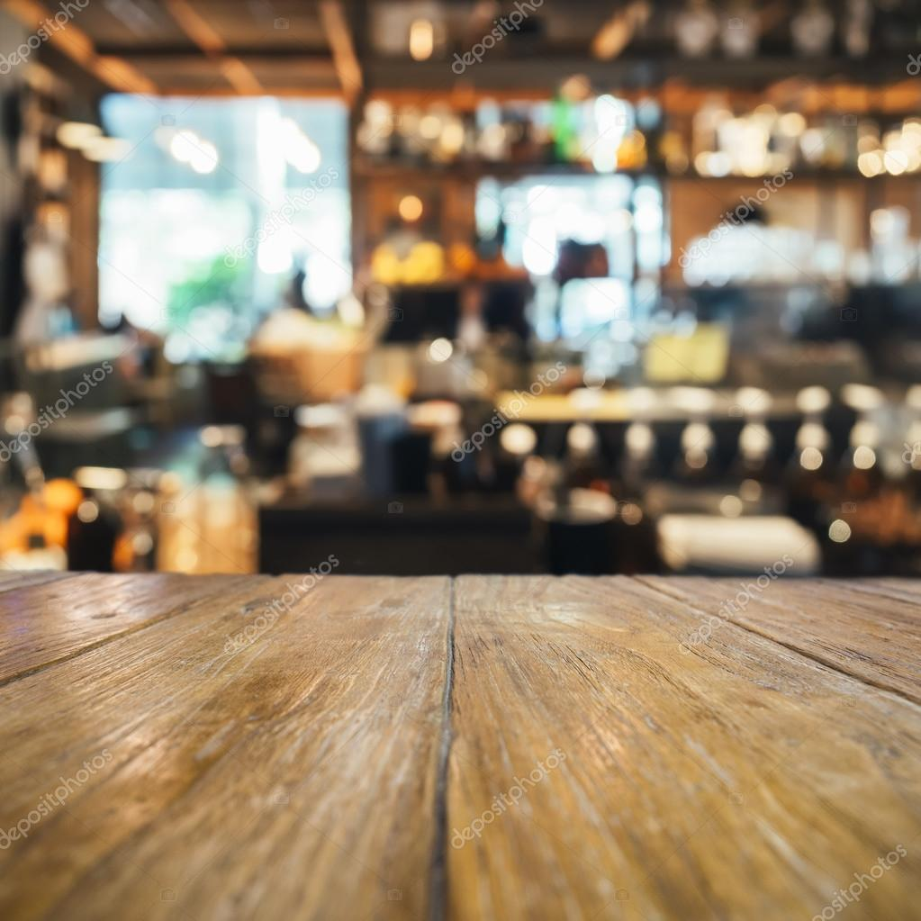 Bar Wallpaper: Table Top Counter With Blurred Bar Restaurant Background