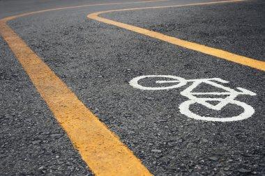 Bicycle lane signage on street