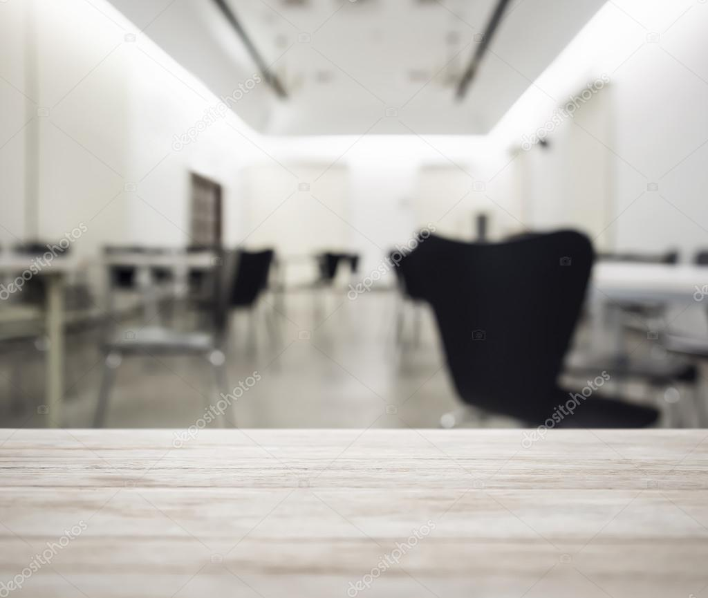 Table top Counter with Blurred Office working Space Interior Background