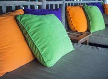 Colorful Pillows on Sofa in Living room decoration