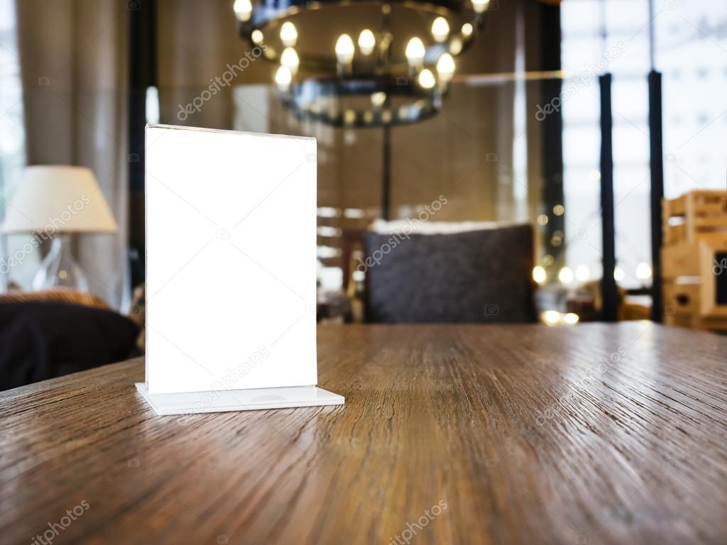 Mock up Menu frame on Table Restaurant Cafe Shop Interior