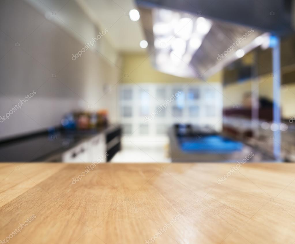 Kitchen Table Top Background table top counter with blurred kitchen interior background — stock