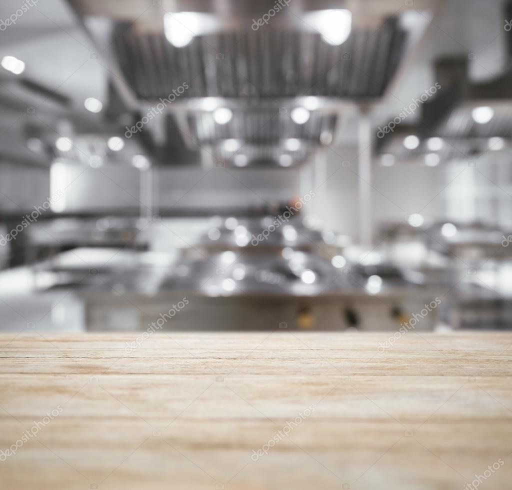 Kitchen Background Image: Table Top Counter With Blurred Kitchen Background