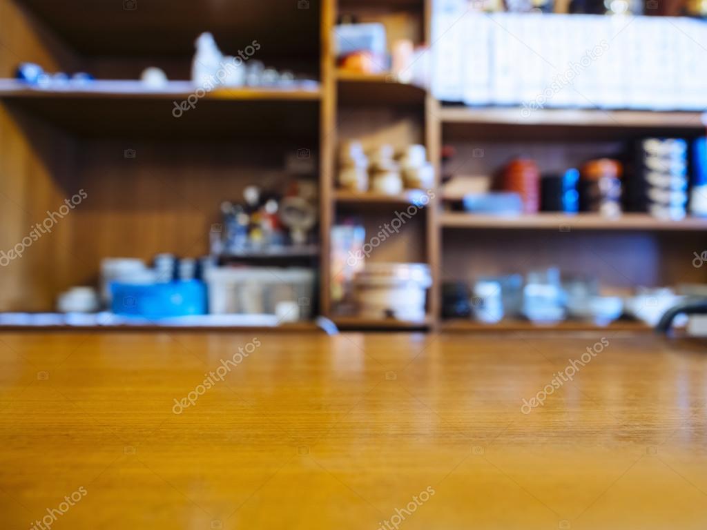 Restaurant Kitchen Background table top counter bar restaurant background with kitchen shelf