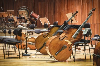Cello Music instruments on a stage