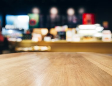 Table top Counter with Blurred Cafe Bar interior background