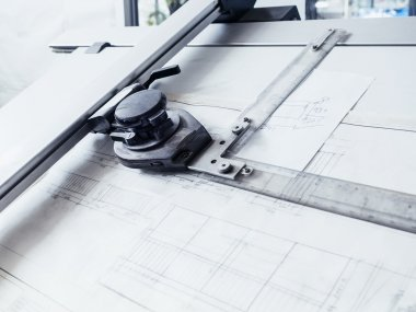 Architectural drawings Sketching plan on working table