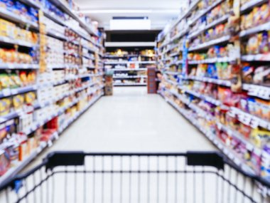 Blurred Supermarket with Shopping cart in perspective view