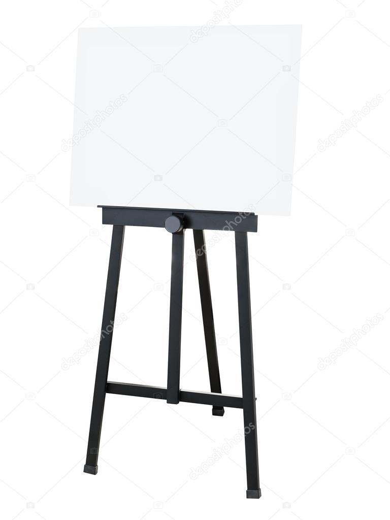 Pintura soporte negro caballete con lienzo en blanco de la cartulina ...