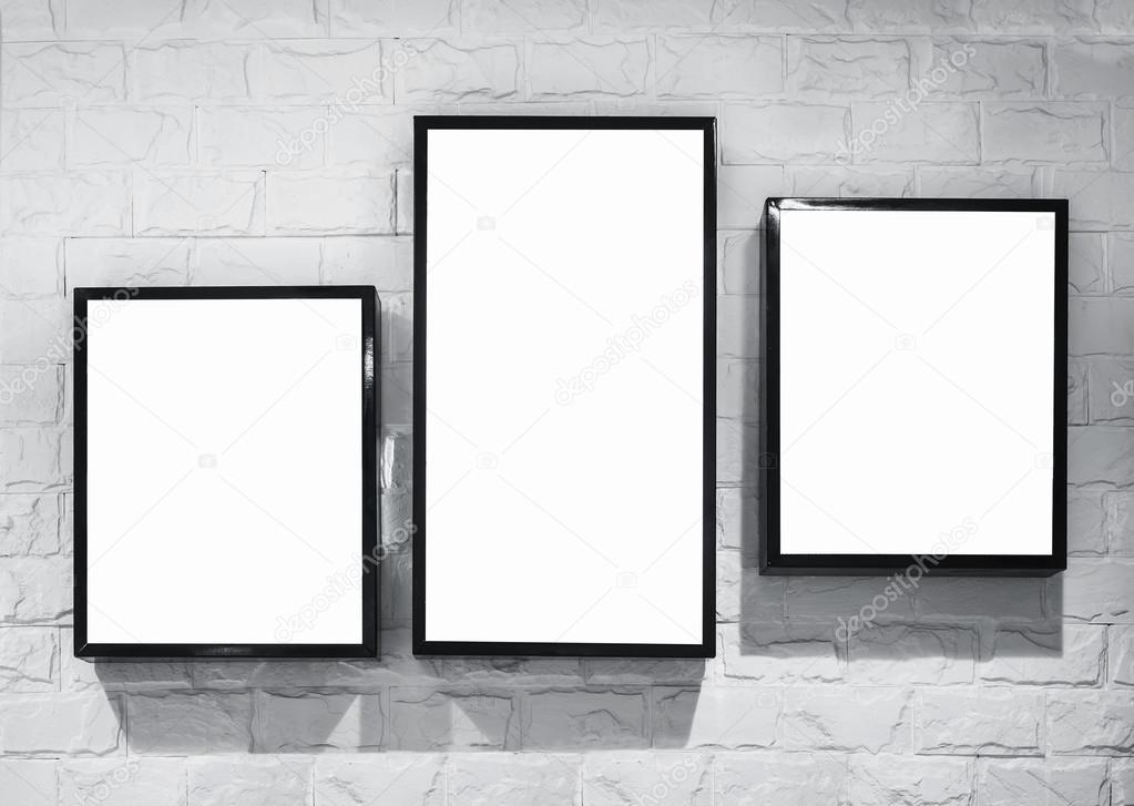 Mock up Light box frames deisgn template on white brick wall — Stock ...