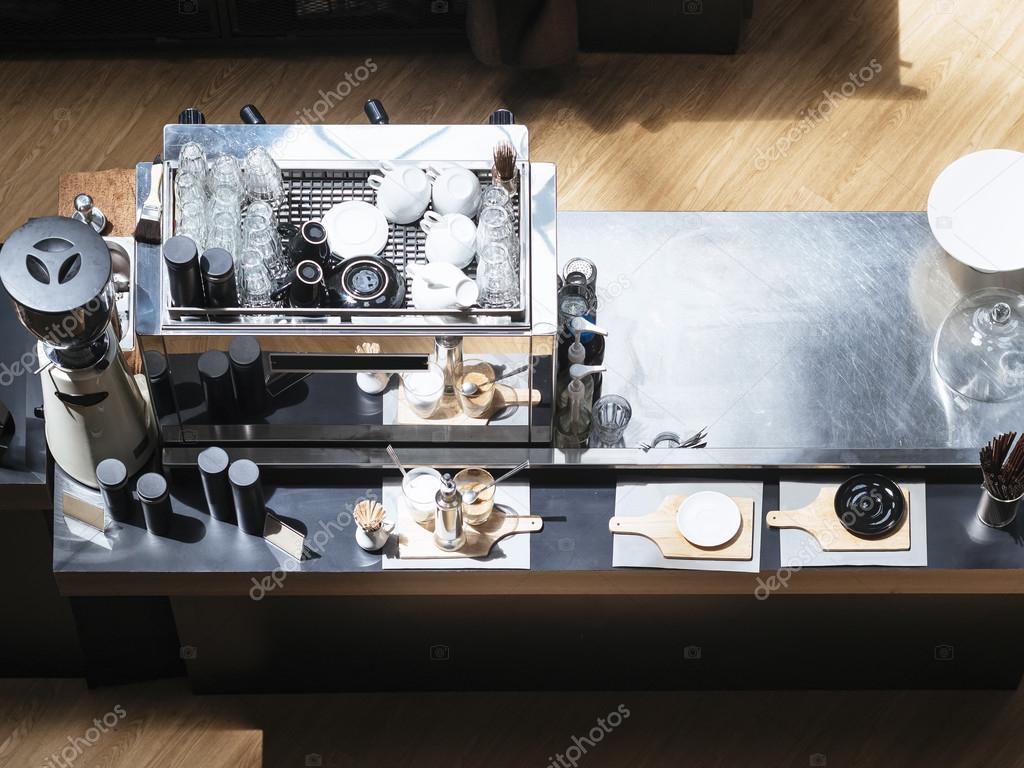 Coffee Machine On Counter Bar Restaurant Cafe Concept Stock Photo C Viteethumb 92307242