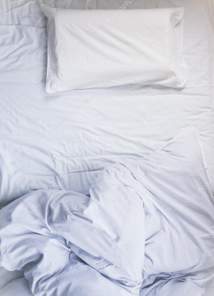 mattress top view. White Unmade Bed Mattress Duvet With Pillow And Blanket Top View \u2014 Stock Photo A