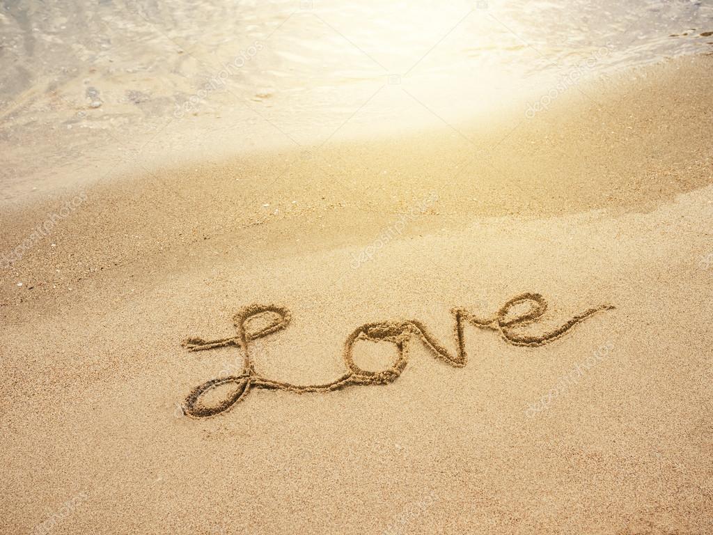 Amor Letras Mensaje Escrito En El Fondo De La Playa De