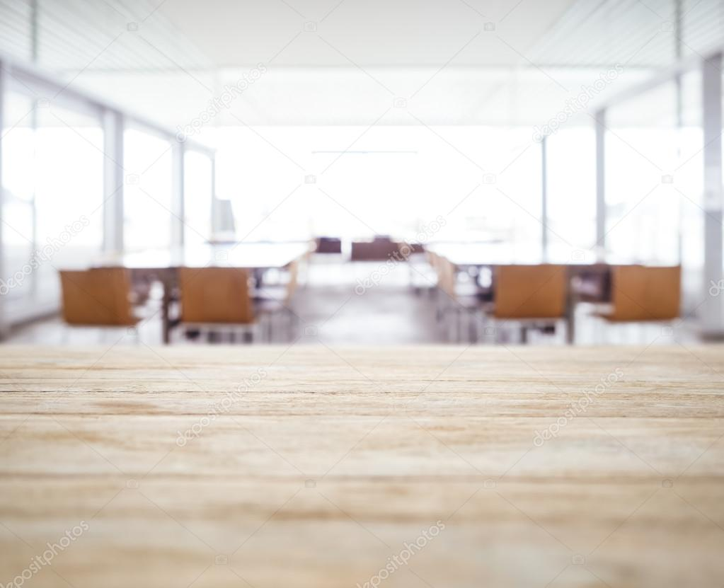 Table top with Blurred Office space Meeting Seminar room Background ...