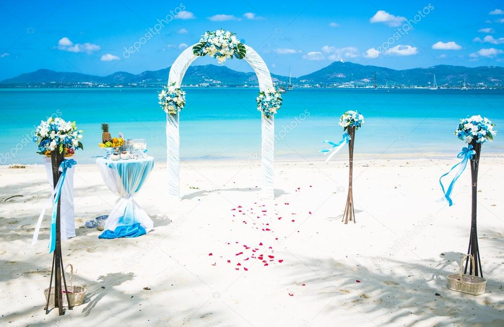 Arch on the beach exotic european Wedding ceremony on the shore of the ocean sea
