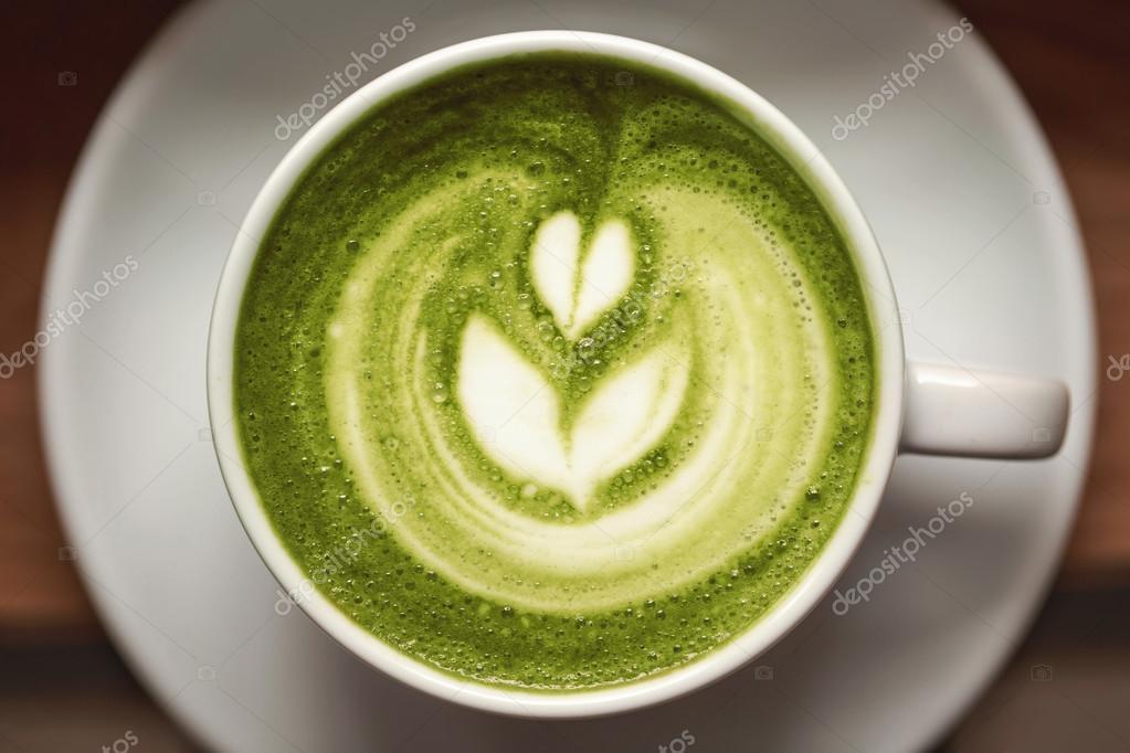 Tasse Grünen Tee Matcha Latte Stockfoto Efetova 111462230