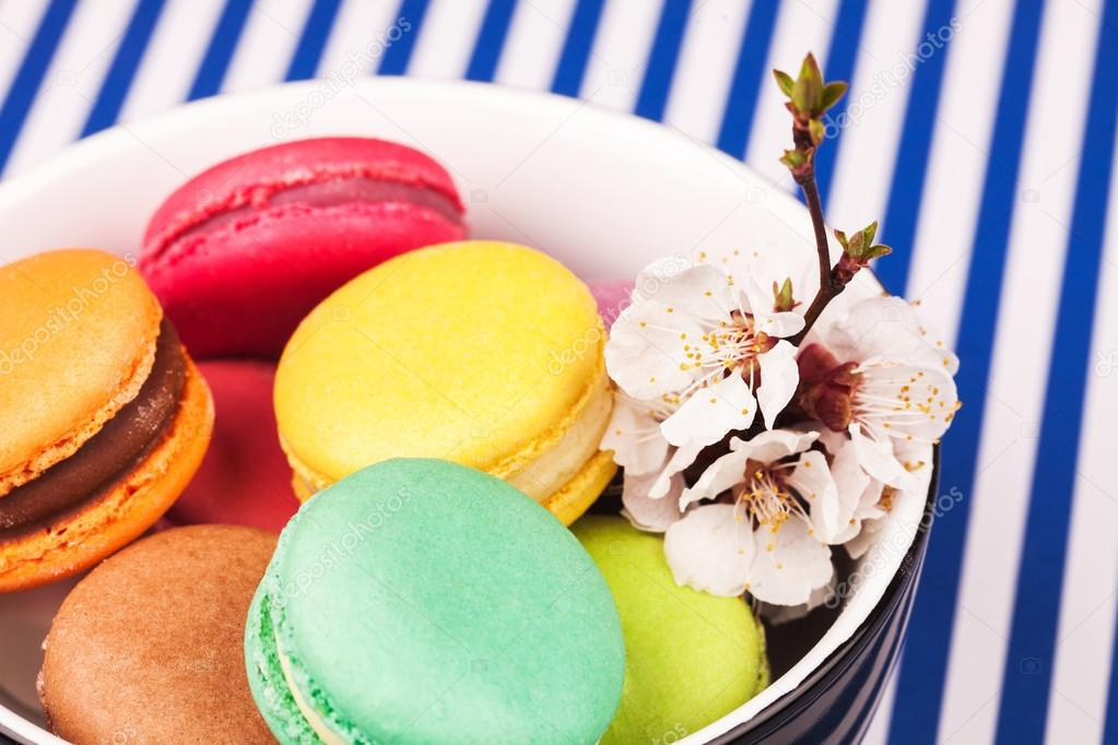 Colorful macaroon in bowl