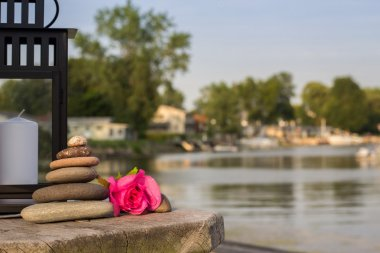 Stone Cairn - Seaside Feng Shui with Copy Space