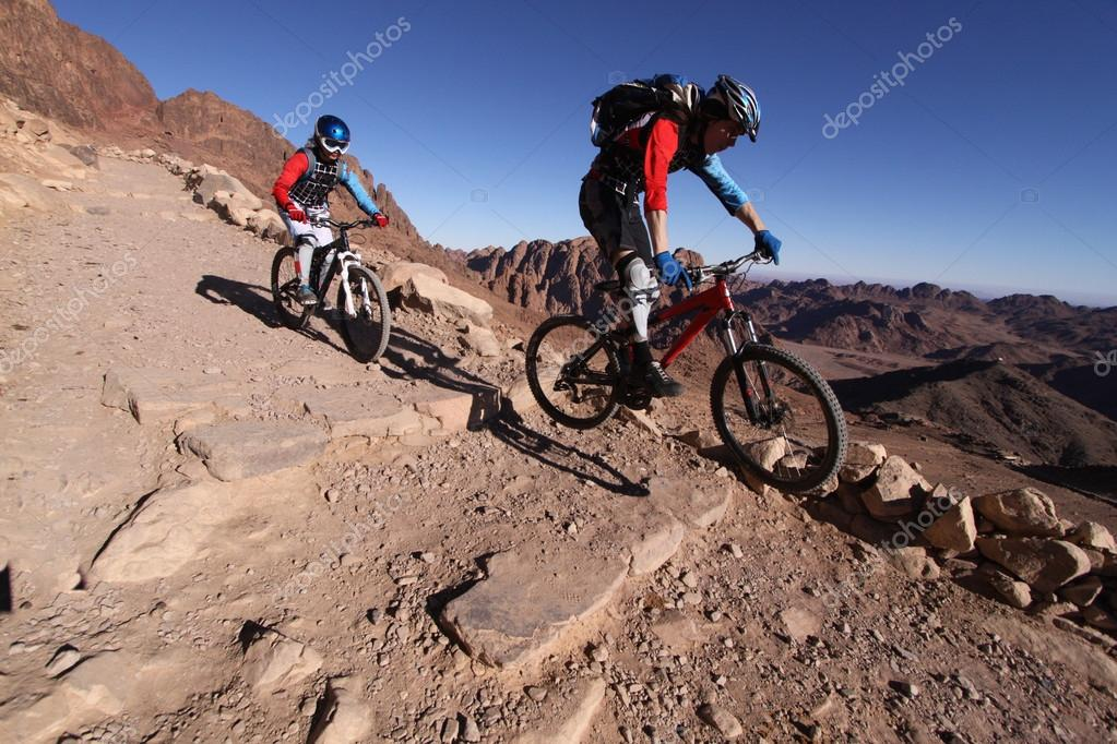 MTB bikers going downhill in the desert from mt. Sinai.